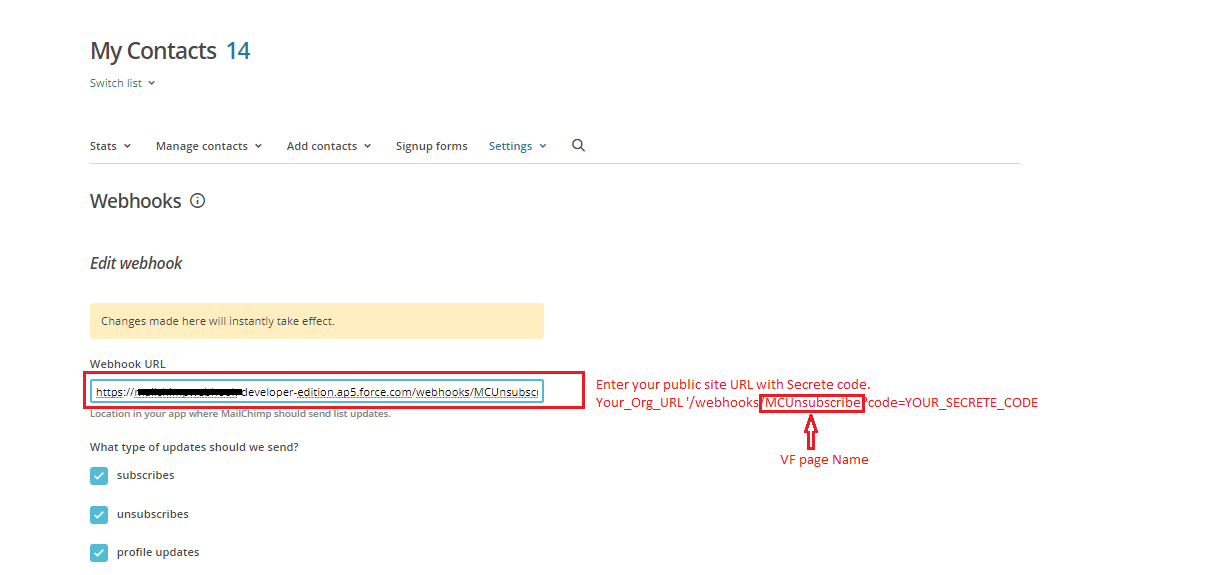 Integrate Salesforce using MailChimp webhook – SFDC Lessons